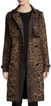 Jane Post Double-Breasted Leopard-Print Midi Trenchcoat, Brown $795 thestylecure.com