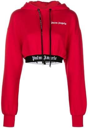 Palm Angels cropped logo hoodie