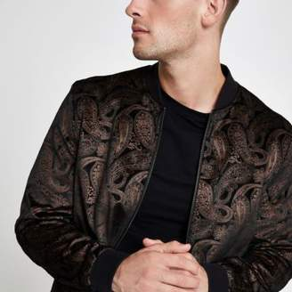 River Island Mens Brown and gold paisley velvet bomber jacket