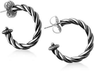 American West Twisted Hoop Earrings in Sterling Silver