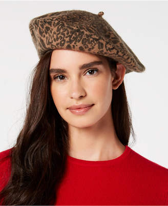 INC International Concepts I.n.c. Leopard-Print Wool Beret