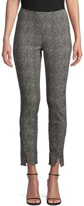 Halston H Skinny-Fit Herringbone Slit-Front Pants