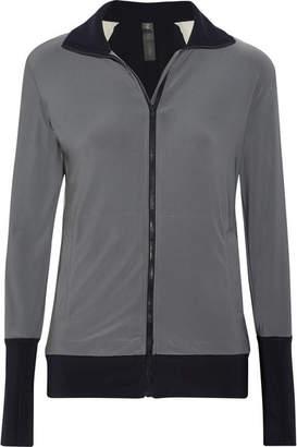 Norma Kamali - Color-block Stretch-jersey Jacket - Dark gray $220 thestylecure.com