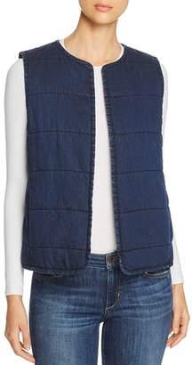 Eileen Fisher Petites Quilted Denim Vest
