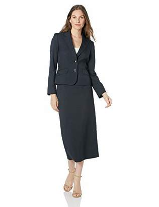 Le Suit Women's 2 Button Notch Collar Column Skirt Suit