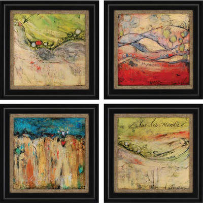 Wayfair 'Passing' 4 Piece Framed Painting Print Set