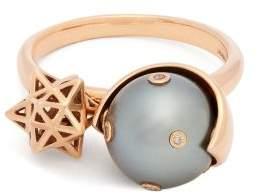 Bibi Van Der Velden - Galaxy Spinning Pearl & 18kt Rose Gold Ring - Womens - Grey