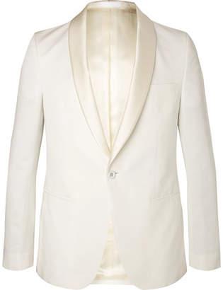 Officine Generale Ecru Slim-Fit Satin-Trimmed Cotton And Linen-Blend Tuxedo Jacket