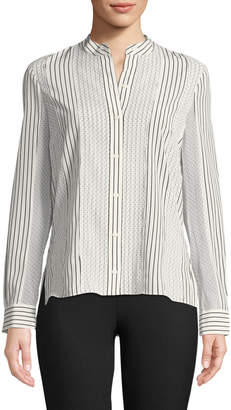 Derek Lam 10 Crosby Mixed-Print Button-Front Blouse