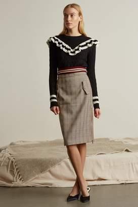 Genuine People High Waisted Plaid Midi Skirt