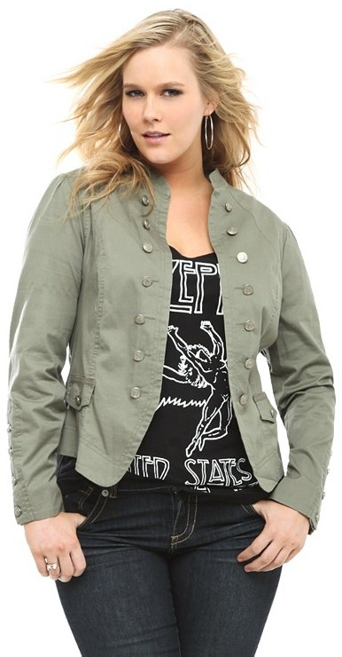 Olive Open-Front Military Jacket