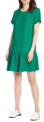 Halogen Short Sleeve Ruffle Hem Dress (Regular & Petite)