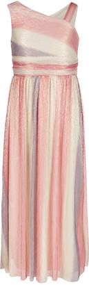 Sequin Hearts Big Girls One-Shoulder Rainbow Maxi Dress
