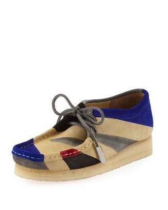 Sycamore Style Women's Geometric Suede Moc Wallabee Shoe, Royal Blue/Black/Gray