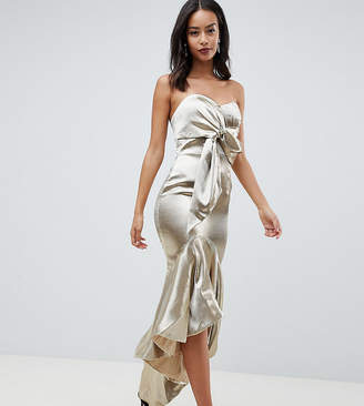 Jarlo Tall Wrap Front Bardot Midi Dress With Fluted High Low Hem