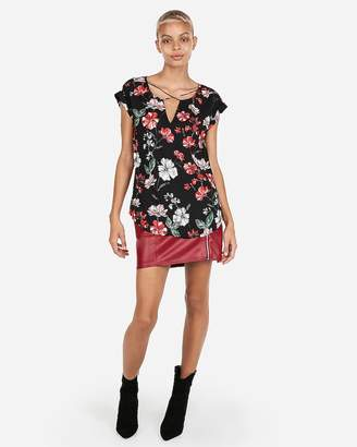 Express Floral Strappy Neck Gramercy Tee