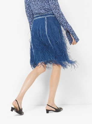 Michael Kors Feather-Embroidered Denim Skirt