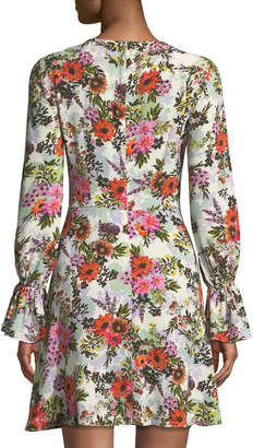 London Times Long-Sleeve Floral-Print Fit-&-Flare Dress