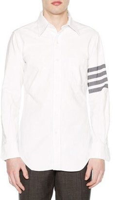 Thom Browne Solid Arm-Stripe Oxford Shirt, White $650 thestylecure.com