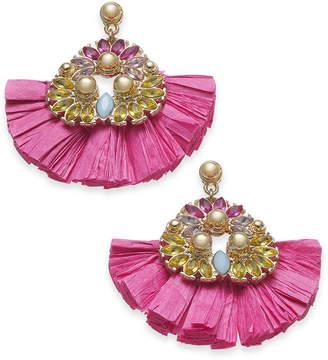 INC International Concepts I.n.c. Gold-Tone Stone & Raffia Fan Drop Earrings, Created for Macy's