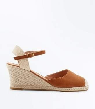 New Look Tan Suedette Round Toe Espadrille Wedges
