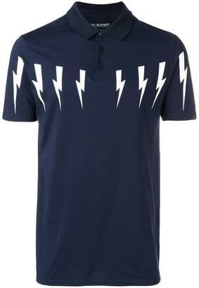 Neil Barrett Lightning prints polo shirt