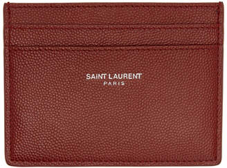 Saint Laurent Red Leather Card Holder