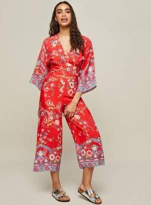 Miss Selfridge Red floral print trousers