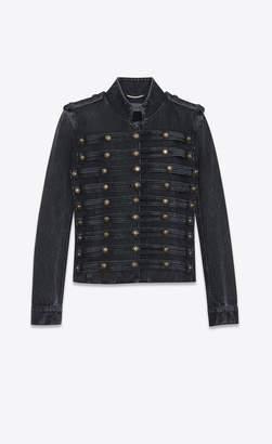 Saint Laurent Officer Vest In Faded Black Denim