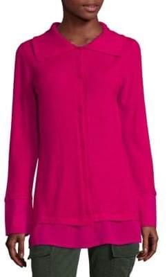 Escada Long-Sleeve Button-Front Cashmere Top