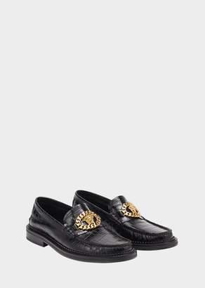 Versace Mock Croc Medusa Chain Loafers