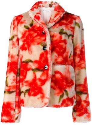 Jil Sander floral print furry jacket