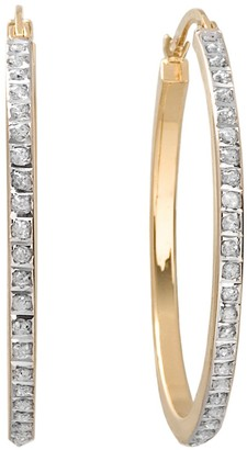 Mystique Diamond 18k Gold Over Silver Hoop Earrings