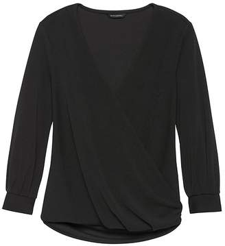 Banana Republic Stretch-Crepe Wrap-Front Top