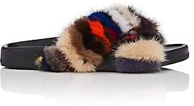 Barneys New York Women's Crisscross-Strap Mink Fur Slide Sandals