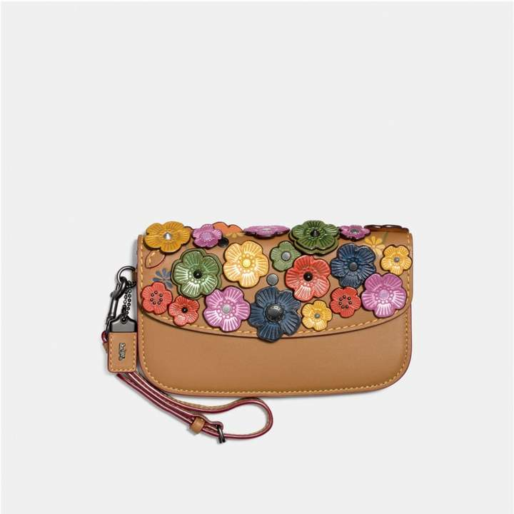 Coach Clutch With Tea Rose - BLACK COPPER/RAINBOW - STYLE