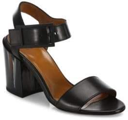 Aquatalia Fredia Leather Block Heel Sandals