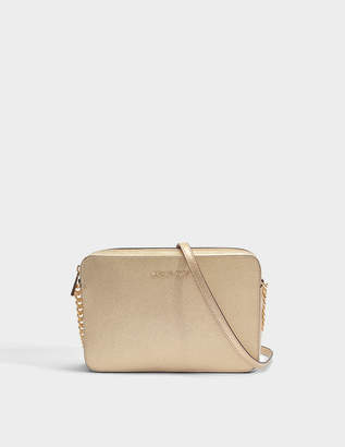 MICHAEL Michael Kors Large East-West Crossbody Bag in Pale Gold Metallic Saffiano Leather