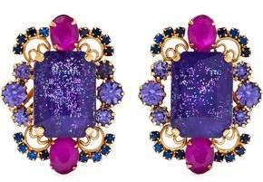 Elizabeth Cole Garner 24-karat Gold-plated, Stone And Crystal Clip Earrings