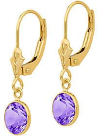 QVC 14K Gemstone Dangle Lever Back Earrings