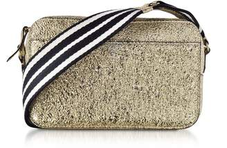 RED Valentino Platinum Crackled Metallic Leather Crossbody Bag W/striped Canvas Strap