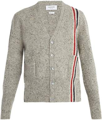 Thom Browne V-neck stripe-detail wool mohair-blend cardigan
