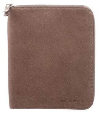 Brunello Cucinelli Leather iPad Mini Case w/ Tags silver Leather iPad Mini Case w/ Tags
