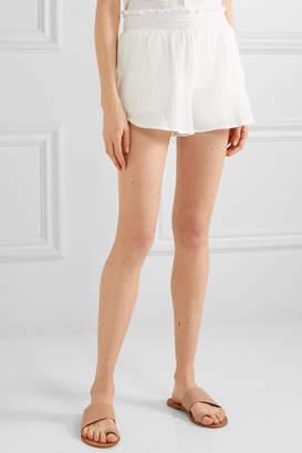 Hatch The Henri Cotton-seersucker Shorts - White