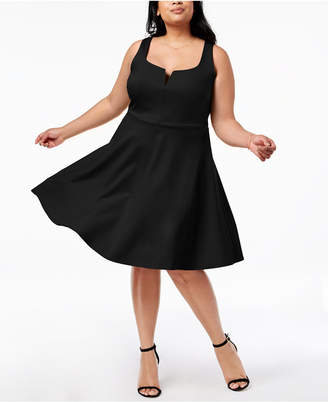 Soprano Trendy Plus Size Split-Neck Fit & Flare Dress