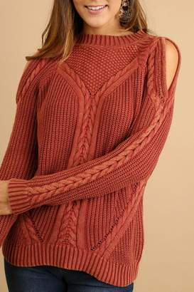 Umgee USA Cold-Shoulder Cable-Knit Sweater