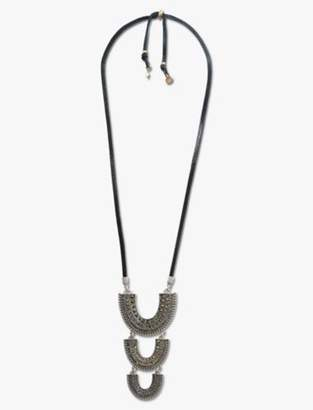 Lucky Brand PAVE LEATHER TRIBAL PENDANT