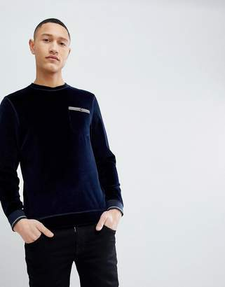 Ted Baker Velour Sweat In Navy