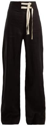 Albus Lumen - Jane High Rise Linen Trousers - Womens - Black