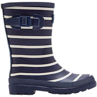 Joules Baby Joule Stripe Wellington Boots, Navy